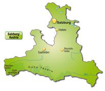 map of salzburg as an overview map in green - stock illustration