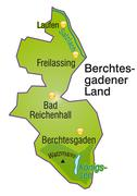 map of berchtesgadener land as an overview map in green - stock illustration