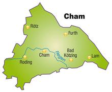 map of cham as an overview map in green - stock illustration