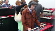 Stock Video Footage of People play piano in Sokolniki Exhibition and Convention Centre