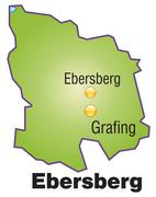 map of ebersberg as an overview map in green - stock illustration