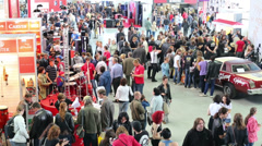 Large number of people in Sokolniki Exhibition Stock Footage