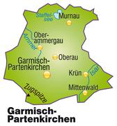 Stock Illustration of map of garmisch-partenkirchen as an overview map in green