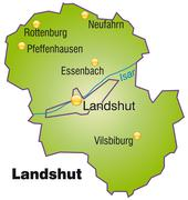 map of landshut as an overview map in green - stock illustration