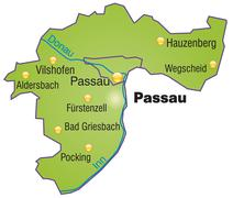map of passau as an overview map in green - stock illustration