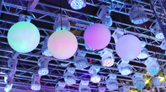 Full-rotating LED floodlights and mat color balls for clubs Stock Footage