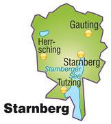 Map of starnberg as an overview map in green Stock Illustration