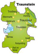 map of traunstein as an overview map in green - stock illustration