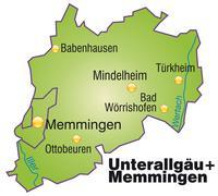 map of unterallgaeu memmingen as an overview map in green - stock illustration