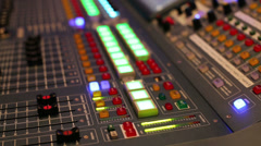 Audio mixer at exhibition of modern musical equipment Stock Footage