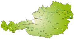 Stock Illustration of map of austria as an overview map in green