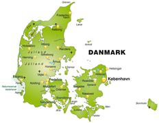 Map of denmark as an overview map in green Stock Illustration