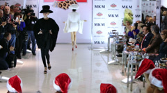 Models perform fur dress from new collection to guests Stock Footage
