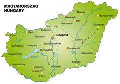 Stock Illustration of map of hungary as an overview map in green
