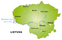 map of lithuania as an overview map in green - stock illustration