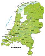 Stock Illustration of map of netherlands as an overview map in green