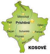Stock Illustration of map of kosovo as an overview map in green