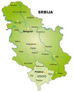 map of serbia as an overview map in green - stock illustration