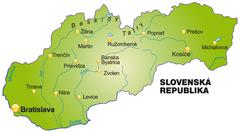 Stock Illustration of map of slovakia as an overview map in green