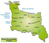 Map of lower normandy as an overview map in green Stock Illustration