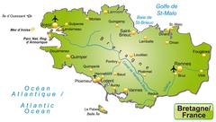 Stock Illustration of map of brittany as an overview map in green