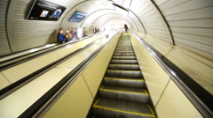 Ascending on metro escalator at Red Gates station Stock Footage
