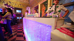 Barmen at bar counter in hall of Yusupov Palace Stock Footage