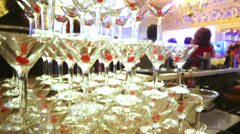 Pyramid of wineglasses in throne hall at Yusupov Palace. Stock Footage