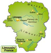 Map of limousin as an overview map in green Stock Illustration