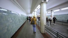 People move along passageway at Moscow underground. Stock Footage