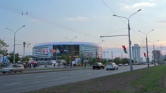 Busy street on background Minsk Arena Stock Footage