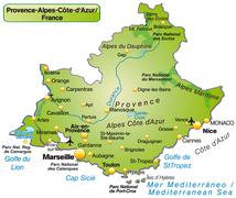 Map of provence-alpes-cote d azur as an overview map Stock Illustration