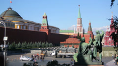 View at Kremlin wall, monument to Minin and Pozharsky Stock Footage