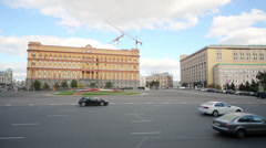 Car traffic in center of Moscow at Lubyanka square Stock Footage