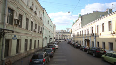 Moving along Lenivka Street - small street in central Moscow Stock Footage