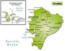 Map of ecuador as an overview map in green Stock Illustration