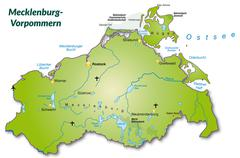 Map of mecklenburg-western pomerania as an overview map in green Piirros