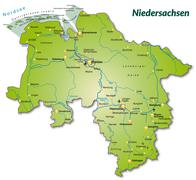 Stock Illustration of map of lower saxony as an overview map in green
