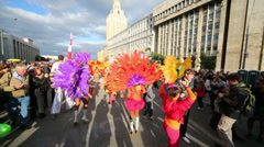 Carnival in honor of Moscow birthday on Sakharov Avenue. Stock Footage