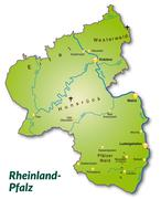 map of rhineland-palatinate as an overview map in green - stock illustration