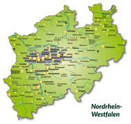 map of north rhine-westphalia as an overview map - stock illustration
