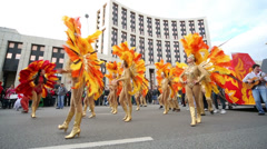 Female dance ensemble perfoms at carnival on Sakharov Avenue. Stock Footage