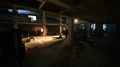 Performance of avant-garde theatre at Artplay area - stock footage