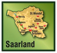 map of saarland as an overview map with hight layers - stock illustration