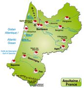 Map of aquitaine as an overview map in green Stock Illustration