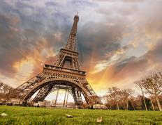 Beautiful colors of Eiffel Tower and Paris Sky Stock Photos
