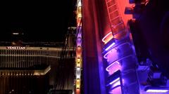 Rim of High Roller (Ferris wheel) at night. Las Vegas, Nevada, USA. Stock Footage