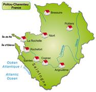 Map of poitou-charentes as an overview map in green Stock Illustration