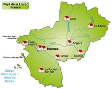 Map of pays de la loire as an overview map in green Stock Illustration