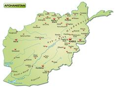 map of afghanistan as an overview map in pastel green - stock illustration